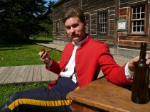 North West Mounted Police Officer, 1885 street at Fort Edmonton, from the Mountie Strike Program in 2012.